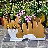 Montloxs Animales de Dibujos Animados Lindo Gato de Madera Forma Maceta jardín Decorado Naranja y Blanco Maceta de Gato