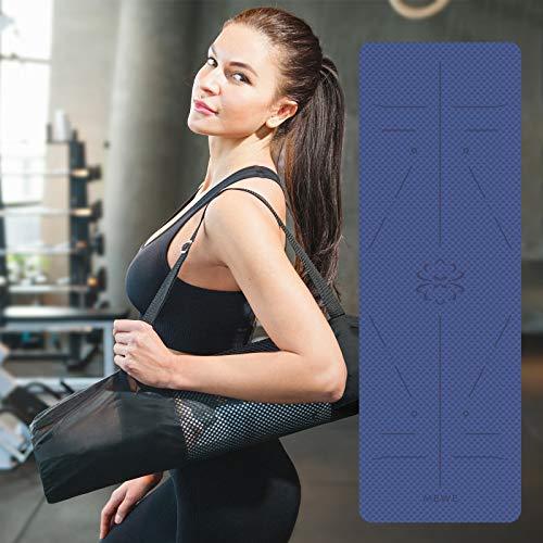 Mewe Pilatesmatte Yoga Matte mit Yogamatte Tasche Gymnastikmatte Yogamatte rutschfest aus TPE für Fitness, Yoga, Pilates & Gymnastik, Übungsmatte Sportmatte 183 x 61 x 0.6CM Blau