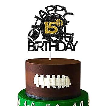 Aonbon Black & Gold Glitter Football Happy 15th Birthday Cake Topper Football 15th Birthday Party Decoration Football Theme Happy 15th Birthday Party Supplies  15th
