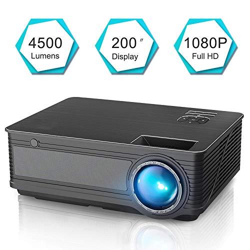 Yangsonjin Beamer, mini-beamer ondersteunt 1080p Full HD, videobeamer met draagbare tas, verbinding met HDMI VGA SD USB AV apparaat smartphone thuisbioscoop projector
