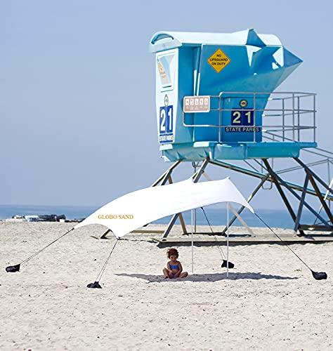 GLOBOLANDIA SRL Tenda da Spiaggia Bianca 2.1 m x 2.2 m Uvb 40+ Impermeabile Ancoraggio a Sabbia,...