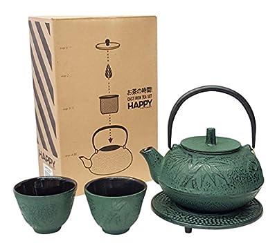 Happy Sales HSCT-BMR05, Cast Iron Tea Pot Tea Set Bamboo Red