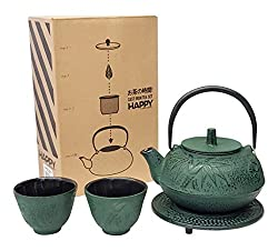 Happy Sales HSCT-BMG04, Cast Iron Tea Pot Tea Set in green