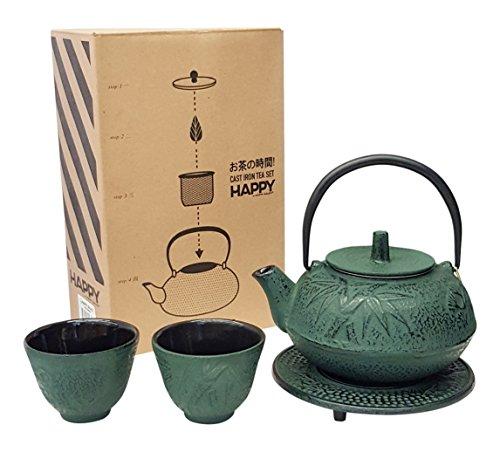 Happy Sales , Cast Iron Tea Pot Tea Set Green Bamboo