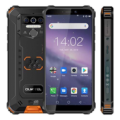 Móvil Resistente, OUKITEL WP5 Telefono Movil Antigolpes, Batería Grande de 8000 mAh, 4GB RAM + 32GB ROM,5.5 Pulgadas,Cámara Triple, Android 10.0 Smartphone con 4 Linternas LED Súper Brillantes-Naranja