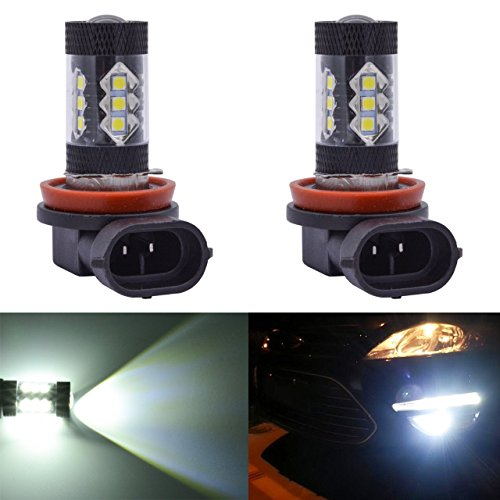 2 x H11 H8 LED Ampoule de Antibrouillard 80W 16 SMD 2828 LED Voiture Lampe de Brouillard 12V Auto Lampe Blanc