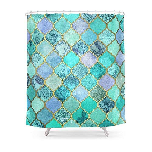QianruB-No. 1 Cool Jade und Icy Mint Dekorativer marokkanischer Fliesen-Muster Duschvorhang 183 x 183 cm