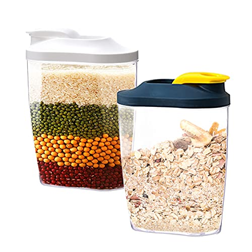 Cdemiy Recipientes para Cereales de Alimentos, 8 Piezas Recipiente de Botes Cocina con Tapa, Grado Alimenticio y Sin BPA, para Almacenar Pasta, Frutos Secos, Aperitivos, Comida para Mascotas