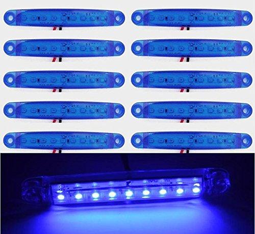 Lot de 10 24 V 9 LED côté avant Marqueur Bleu LED pour camion remorque Caravane