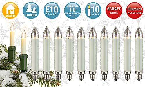 Hellum 908015 Ersatz-Schaftkerze für Lichterketten mit 10 Brennstellen/Innen- und Außenbeleuchtung/warmweiß/elfenbein / E10 Sockel / 23 V / 3 W / 10 Stück