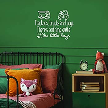 Vinyl Wall Art Decals - Tractors Trucks And Toys There s Nothing Quite Like Little Boys - 22.5  x 29.5  - Sweet Quotes For Toddlers Bedroom Playroom Nursery Home Apartment Decor  22.5  x 29.5  White