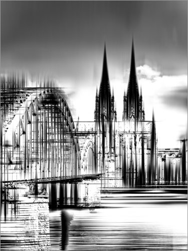 Posterlounge Acrylglasbild 60 x 80 cm: Kölner Skyline in Schwarz/Weiß von Städtecollagen - Wandbild, Acryl Glasbild, Druck auf Acryl Glas Bild