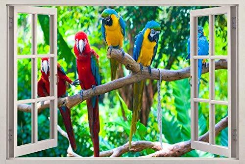 YJYG Pegatinas de pared Loro 3d etiqueta de la ventana etiqueta de la pared decoración del hogar arte mural animal pájaro Halloween gift 50 * 70cm