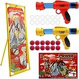 DigHealth 2 Pezzi Pistola Giocattolo con Bersaglio di Tiro Vulcano, Giocattolo di Tiro Bambini con Palline Spugna e Palline Luminose, Palle da Tiro Pistola Blaster Regali per Bambini di 3-10 Anni