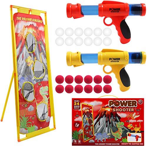 DigHealth 2 Pezzi Pistola Giocattolo con Bersaglio di Tiro Vulcano, Giocattolo di Tiro Bambini con Palline Spugna e Palline Luminose, Palle da Tiro Pi