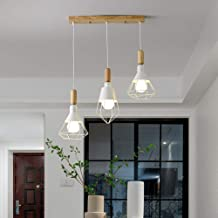 Wall Lamp Lights Personality Three-Color Dimming Nordic Simple Dining Room Log 50 * 100cm Hanging Lamp 3 Bulb White Light