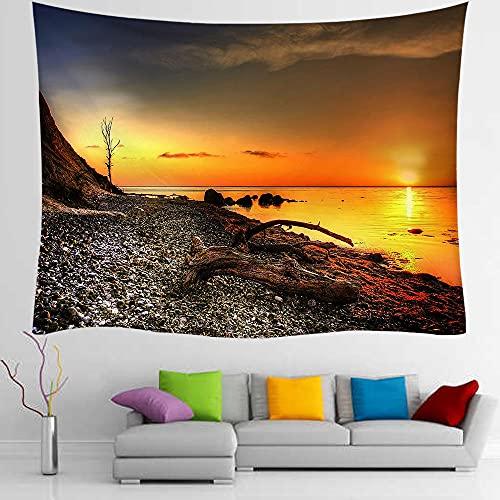 Tapiz de la costa de Dinamarca, tapiz de fondo para colgar en la pared de TV, decoración de paisaje al atardecer, sofá para el hogar, fondo psicodélico