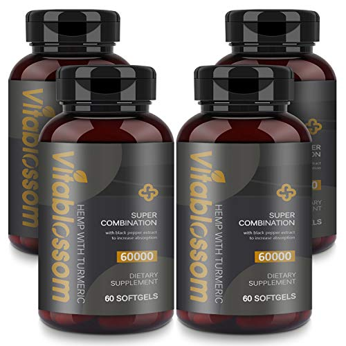 Capsules 60000MG, with Turmeric Curcuminoids & Black Pepper Extract, Advanced Absorption Vegan Friendly Formula Softgels - 60 Capsules (4 Pack)