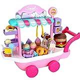Zarome Eiswagen Spielzeug Set Kinderspielzeug Üßigkeiten Trolley Mini Kinder Küche Eiswagen Lebensmittel Trolley Spielzeug Rollenspiel Spielzeug Geschenke Lernspielzeug Für Kinder elegance