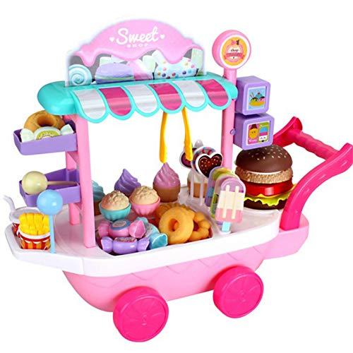ZHIYA Pretend Play Set Mini Eiswagen Candy Trolley Mini Küche Kinder Eiswagen Lebensmittel Trolley Spielzeug Mit Sound Und Licht Rollenspiel Spielzeug Geschenke Kinder Für Jährige Mädchen masterly