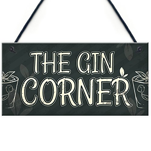 RED OCEAN The Gin Corner Garden Sign Gin & Tonic Plaque Funny Alcohol Home Bar Pub Sign Party Gift