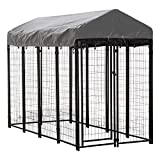Houseables Dog Kennel, Large Crate for Dogs, 8 x 4 x 6 ft, Metal, Welded, Pet Cage, Heavy Duty Playpen, Outdoor/Outside House, Animal Runs, Yard Wire Fence, Patio Crates, Big Play Pen with Cover