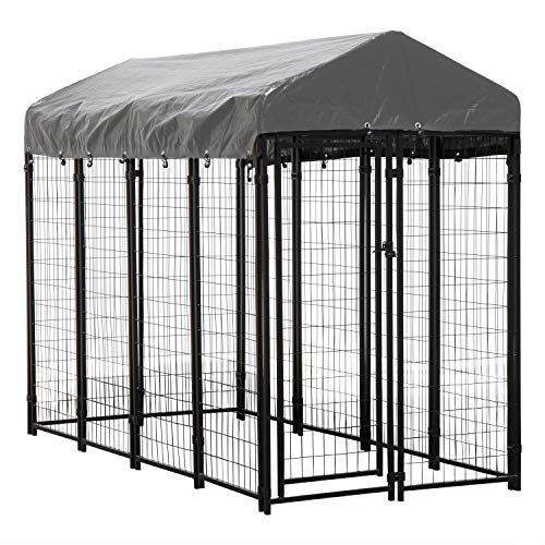 Houseables Dog Kennel, Large Crate for Dogs, 8x4x6 ft, Metal, Welded, Pet Cage, Heavy Duty Playpen, Outdoor, Animal Runs, Yard Wire Fence, Patio Crates, Big Play Pen w/ Cover, Roof, Galvanized Steel