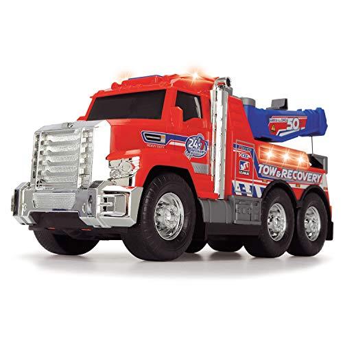 Dickie Toys 203306014 Tow Truck, Abschleppfahrzeug mit Abschleppstange & verschiebbarem Haken, Spielzeugauto mit Freilauf, Licht & Sound, amerikanischer Look mit Chromteilen, 31,5 cm groß, rot/blau
