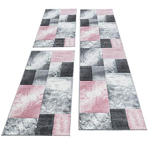 SIMPEX Bettumrandung Läufer Teppich Modern Designer Läuferset Kariert Linien Muster Meliert 3 Teilig Schwarz Grau Pink Weiß, Bettset:2x80x150+1X80x300
