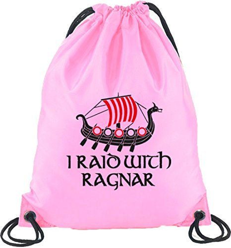 Shirtstreet24, I RAID WITH RAGNAR, Vikings Turnbeutel Rucksack Sport Beutel, Größe: onesize,Rosa