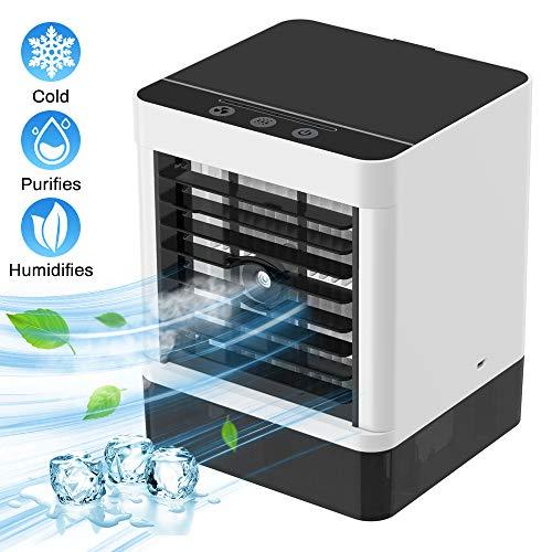 Mini Persönliche Klimaanlage Mobile Klimageräte Tragbare Klimaanlage 4 in 1 Luftkühler Ventilator Luftbefeuchter Lufterfrischer mit 3 Geschwindigkeiten für Office Home Büro Raum Hotel Im Freien
