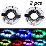 Hermard growfast Rechargeable Bike Wheel Hub Lights Waterproof LED Cycling Spoke Lights 7 Color Bicycle Safety Warning Decoration Lightfor Ultimate Safety & Style (2Tire Pack)