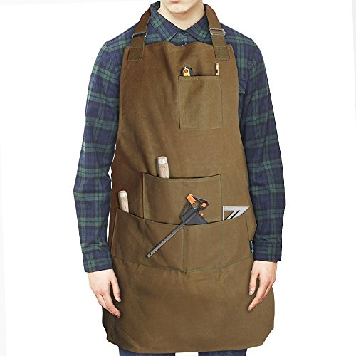 Case4Life Heavy Duty Water Resistant Waxed Canvas Apron Tool Apron Workshop DIY Home/Garden Waist/Neck Adjustable Straps Unisex - Lifetime Warranty