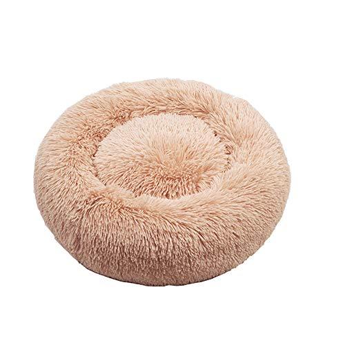 BVAGSS zacht wasbaar comfortabel huisdier bed bank ronde nest slapen kussens voor katten en honden XH034, Diameter:70, Abrikoos