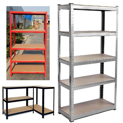 150cm x 70cm x 30cm Adjustable Shelves, Red 5 Tier, 875KG Capacity Extra Wide Boltless Storage Shelving Unit, Metal Racking Unit, Ideal For Garages, Sheds, Stock Rooms, Workspaces