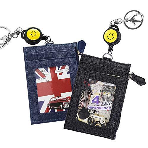 2 Piezas Cartera Tarjeta de Crédito, Slim Billetera de Piel, Mini Monedero con con Llavero retractil,para ID, Licencia de Conducir (Negro + Azul Marino)