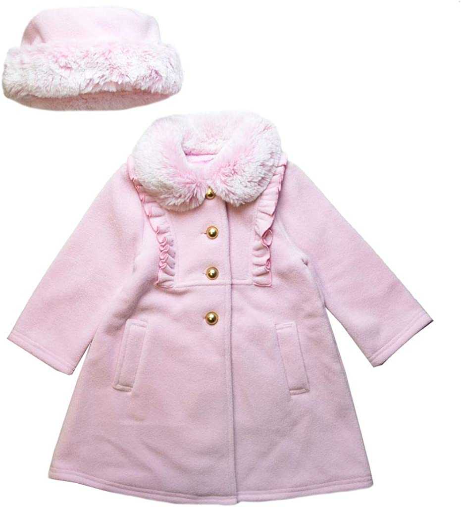Good Lad Toddler and 4/6X Girls Pink Fleece Coat with Pink Fur Trim and Matching Hat