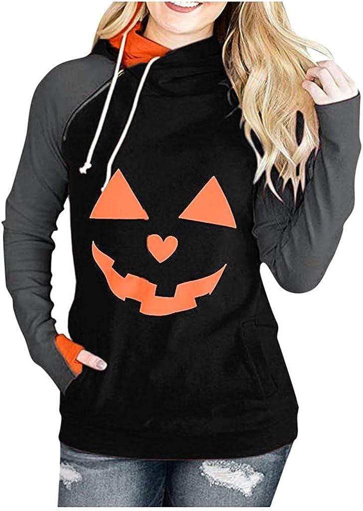 Halloween Hoodies for Women,Women Halloween Sweatshirts Hoodies Teen Girls Pumpkin Skull Graphic Plus Size Pullover