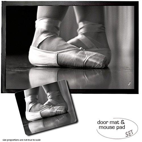 1art1 Ballet, Zapatillas De Ballet, Puntas Felpudo Alfombra (60x40 cm) + Alfombrilla para Ratón (23x19 cm) Set Regalo