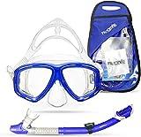 PRODIVE Premium Dry Top Snorkel Set - Impact Resistant Tempered Glass...