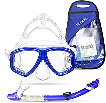 PRODIVE Premium Dry Top Snorkel Set - Impact Resistant Tempered Glass Diving Mask,Watertight and Anti-Fog Lens for Best Vision Easy Adjustable Strap Waterproof Gear Bag Included  Blue Adults