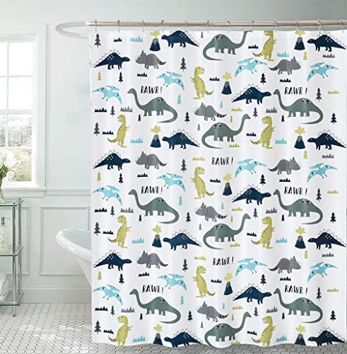 DOSLY IDÉES Kids Shower Curtain Dinosaur Cute Pattern,Cloth Fabric Different Wildlife Colorful Bathroom Decor Set with Hooks,72x96 in