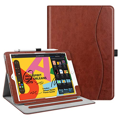 "Fintie Case for New iPad 7th Generation 10.2 Inch 2019 - [Corner Protection] Multi-Angle Viewing Folio Smart Stand Back Cover with Pocket, Pencil Holder, Auto Wake/Sleep for iPad 10.2"", Vintage Brown"