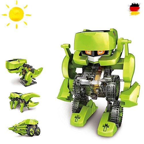 Juego de construccin 4en 1con dinosaurios y robot, juguete elctrico pedaggico, accionamiento mediante energa solar