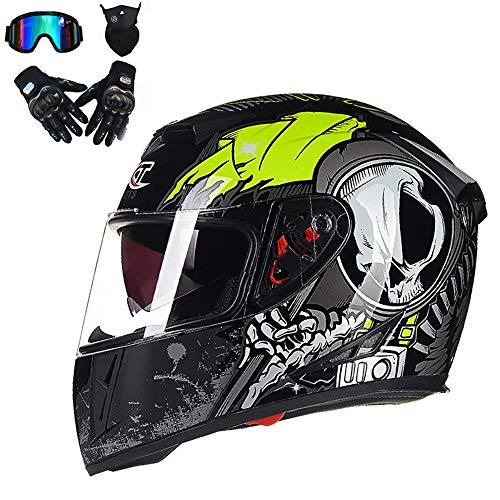 Casco Adulto Motocross Casco Integrale MX Moto D.O.T Certificato off Road Dirt Bike Casco Fly Racing Visiera Doppia Occhiali Guanti Gear Combo,Green,M