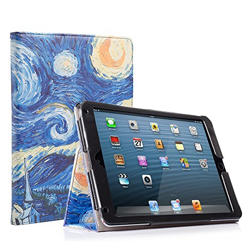 RUBAN Case Compatible with iPad 9.7 Inch 2018/2017/iPad Air 2/iPad Air - [Corner Protection] - [Scratch-Resistant] Premium PU Leather Folio Smart Stand Cover w/Auto Sleep/Wake, Starry Night