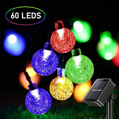 Solar Lichterkette Außen, Mture LED Solar Lichterkette 11 Meter 60Leds Kristallkugeln 8 Modi IP65 Wasserdicht Lichterkette mit Lichtsensor Beleuchtung, für Garten, Partys, Balkon, Hochzeit -Mehrfarbig