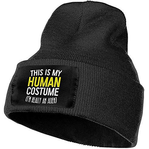 Quintion Robeson Hombres Mujeres Este es mi Disfraz Humano Gorros de Punto elsticos al Aire Libre Sombrero Gorras de Calavera de Invierno Suave