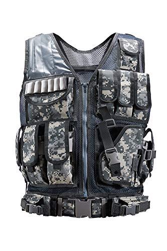 Poplover Kit de Chaleco táctico al Aire Libre Chaleco Molle Ligero Chaleco Airsoft Militar del ejército para Entrenamiento de Combate para Adultos Práctica de Tiro Plata
