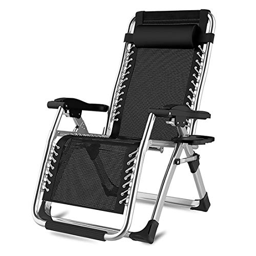 HXMSXROMIDA Reclining Lawn Chairs with Foot Rest Metal structure W/Adjustable Leg Rest and Reclining Functions for Pool Beach Porch 200kg Load Capacity,Black